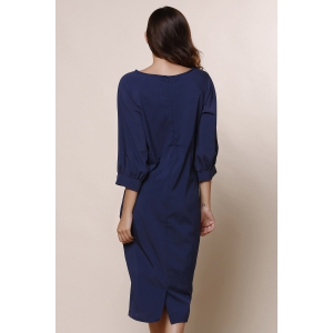 Stylish Round Collar 3/4 Sleeve Pure Color Pocket Design Women's Dress - BLUE M
