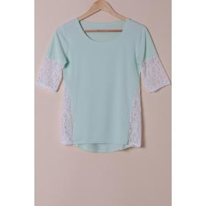 Stylish Scoop Neck Lace Spliced Half Sleeve T-Shirt For Women - Light Blue - Xl