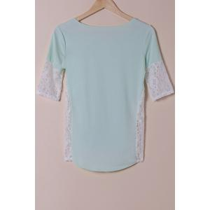 Stylish Scoop Neck Lace Spliced Half Sleeve T-Shirt For Women - LIGHT BLUE S