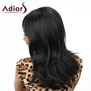 Fashion Wavy Towheaded Long Synthetic Side Bang Natural Black Capless Women's Wig - BLACK
