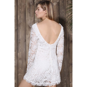 Mini Plunge Long Sleeve Lace Backless Dress - Blanc M