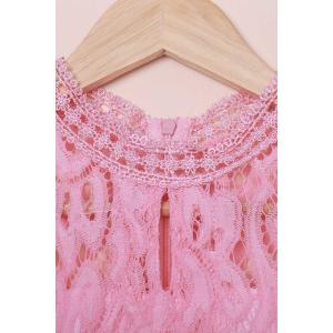 Hollow Out Lace Long Sleeve Dress - PINK S
