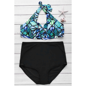Sexy Halter Sleeveless Printed High Waist Bikini Set For Women