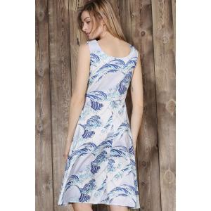 Elegant Sleeveless Sea Wave Printed Ball Gown Dress For Women - LIGHT BLUE S