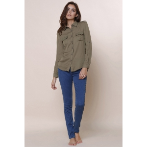 Simple Polo Collar Solid Color Long Sleeve Blouse For Women - ARMY GREEN S
