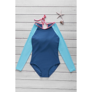 Long Sleeve One Piece Swimwear Rashguard - Lake Blue - L