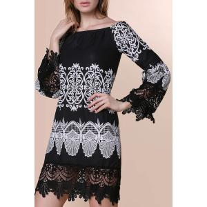 Slash Neck Lace Trim Homecoming Dress