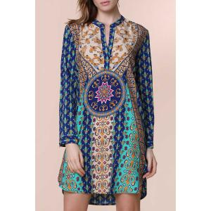 V-Neck Long Sleeve Printed Shift  Dress