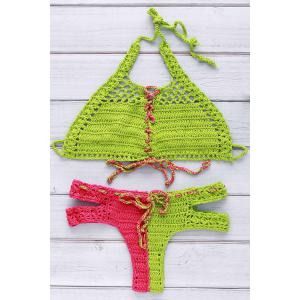 Chic Halter Hit Color Lace-Up Cut Out Crochet Bikini For Women