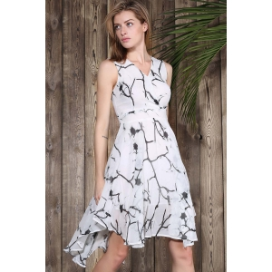 Sleeveless Printed Chiffon Swing Dress -