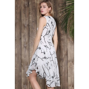 Sleeveless Printed Chiffon Swing Dress - COLORMIX S