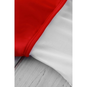 Sexy Round Neck Sleeveless Color Block See-Through Swimwear For Women - RED WITH WHITE S