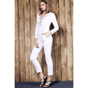 Casual Long Sleeve Pure Color Lace-Up Women's Jumpsuit - WHITE M