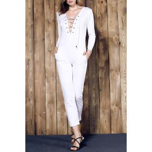 Long Sleeve Lace-Up Deep V Jumpsuit