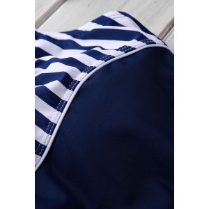 Active Style U Neck Striped Backless One-Piece Swimsuit For Women -