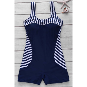 Active Style U Neck Striped Backless One-Piece Swimsuit For Women