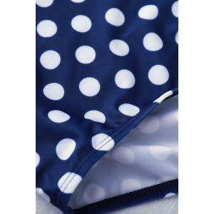 Vintage Halter Polka Dot Print Swimsuit For Women - BLUE AND WHITE M
