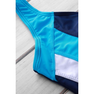 Sexy Style U Neck Color Block Criss-Cross Backless One-Piece Swimsuit For Women - BLUE M
