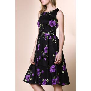 Retro Style Round Neck Sleeveless Roses Print Women's Ball Gown Dress