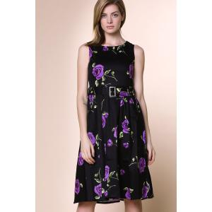 Retro Style Round Neck Sleeveless Roses Print Women's Ball Gown Dress - PURPLE 2XL