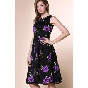 Retro Style Round Neck Sleeveless Roses Print Women's Ball Gown Dress - PURPLE S