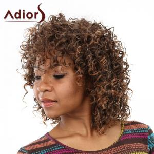Elegant Brown Mixed Medium Capless Fluffy Curly Side Bang Wig For Women -