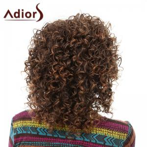 Elegant Brown Mixed Medium Capless Fluffy Curly Side Bang Wig For Women - BROWN