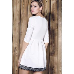 Alluring Plunging Neck Lace Spliced Pleated Mini Dress For Women -