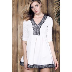 Alluring Plunging Neck Lace Spliced Pleated Mini Dress For Women - WHITE S