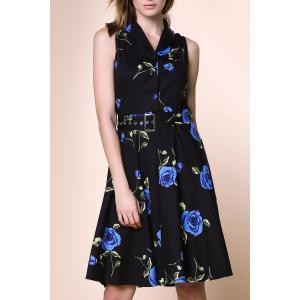 Turn-Down Collar Flower Knee Length Shirt Dress