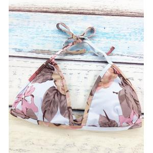 Stylish Halter Flower Pattern Women's Bikini Set -