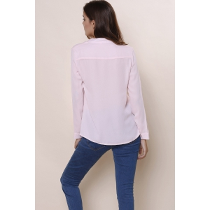 Plain Long Sleeves Blouse - PINK S