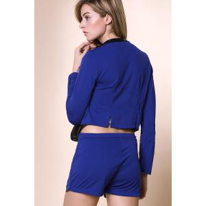 Stylish Stand-Up Collar Long Sleeve Spliced Blazer + Solid Color Shorts Women's Twinset - BLUE M