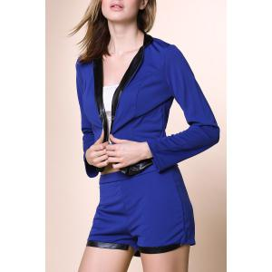 Stylish Stand-Up Collar Long Sleeve Spliced Blazer + Solid Color Shorts Women's Twinset - Blue - Xl