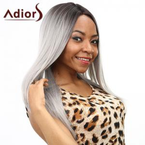 Two-Tone Ombre Middle Part Synthetic Stylish Silky Straight Long Wig For Women -