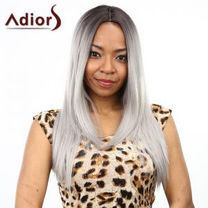 Two-Tone Ombre Middle Part Synthetic Stylish Silky Straight Long Wig For Women - Black And Grey - One Size(fit Size Xs To M)