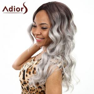 Fashion Brown Ombre Gray Centre Parting Fluffy Wave Long Synthetic Wig For Women -