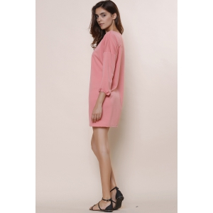 Fashionable Solid Color Scoop Neck Short Sleeve Dress For Women - PINK S