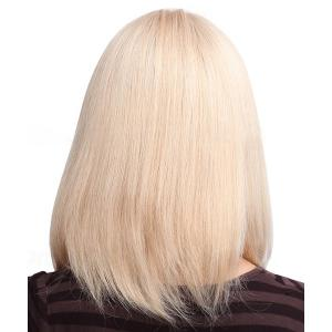 Noble Straight Tail Adduction Capless Fashion Side Bang Medium Human Hair Wig For Women -