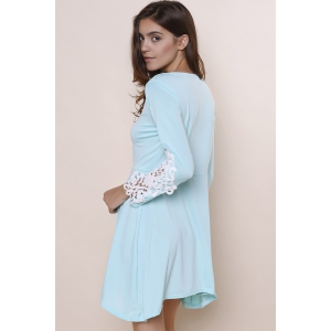 Long Sleeve Hollow Out Asymmetrical Casual Dress Fall - LIGHT BLUE S