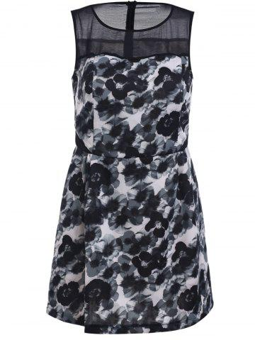 Outfits Elegant Sleeveless Printed Chiffon Spliced Bodycon Dress For Women