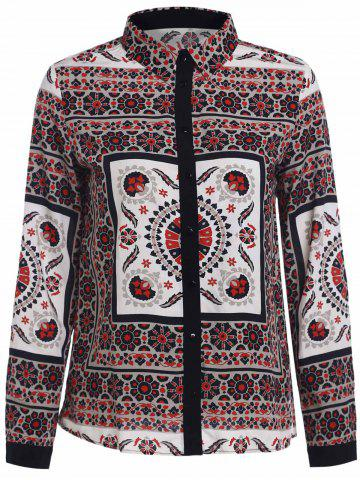 Fashion Retro Style Shirt Collar Floral Print Long Sleeve Blouse For Women