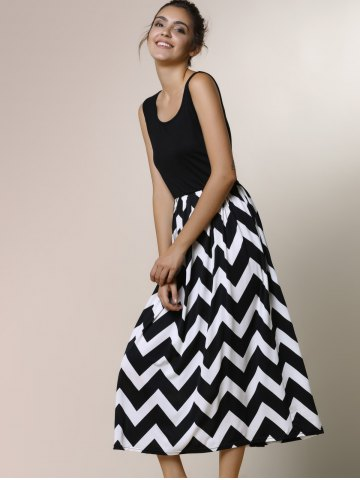Online Zigzag Sleeveless A Line Summer Dress - M BLACK Mobile