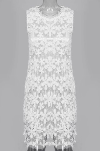 Unique Sleeveless Lace See Thru Club Dress WHITE M