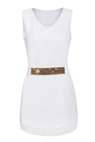 Chic V-Neck Sleeveless Chiffon Dress with Sequins WHITE S