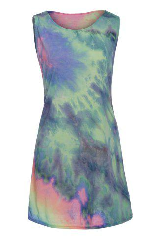 New Stylish Round Collar Sleeveless Printed Colorful Women's Dress COLORMIX S