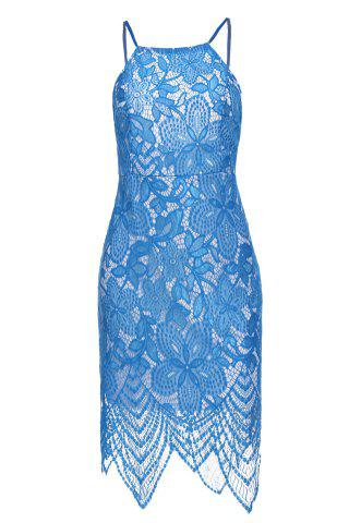 Dress Sexy Scoop Neck manches Backless Bodycon dentelle femmes - Bleu Clair M