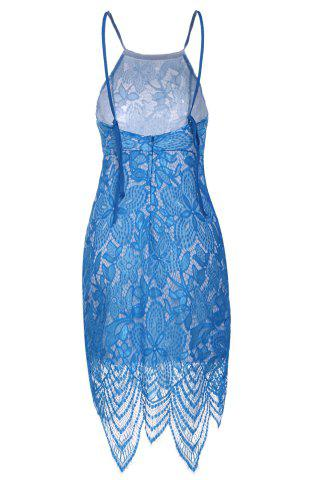 Best Sexy Scoop Neck Sleeveless Backless Bodycon Lace Women's Dress - L LIGHT BLUE Mobile