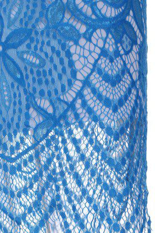 Outfit Sexy Scoop Neck Sleeveless Backless Bodycon Lace Women's Dress - L LIGHT BLUE Mobile