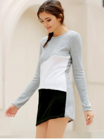 Store Simple Scoop Neck Long Sleeve Color Blcok Bodycon Women's Dress - S LIGHT GRAY Mobile